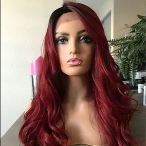 RED BURGUNDY OMBRÉ WAVY LACE FRONT PARTED WIG